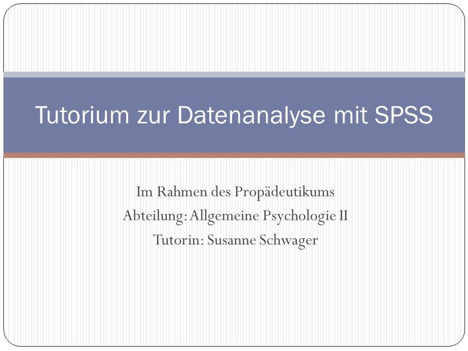 Tutorium zur Datenanalyse mit SPSS