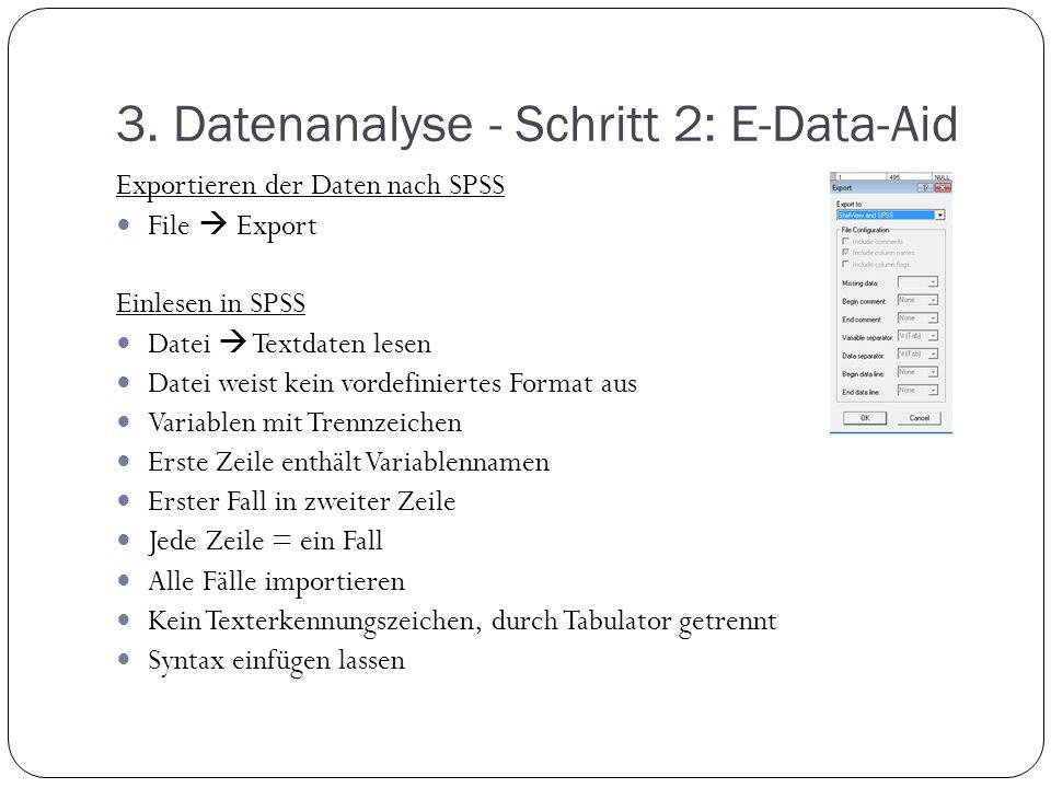 3. Datenanalyse - Schritt 2: E-Data-Aid