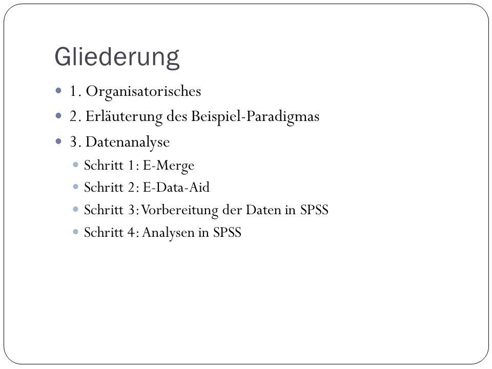 Gliederung 1. Organisatorisches 2. Erläuterung des Beispiel-Paradigmas