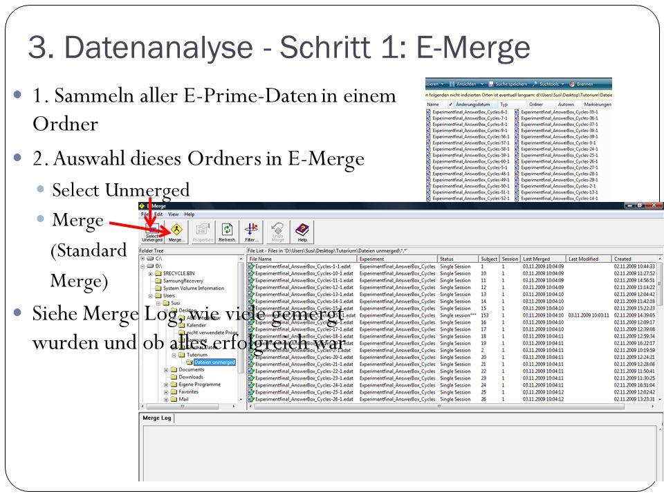 3. Datenanalyse - Schritt 1: E-Merge