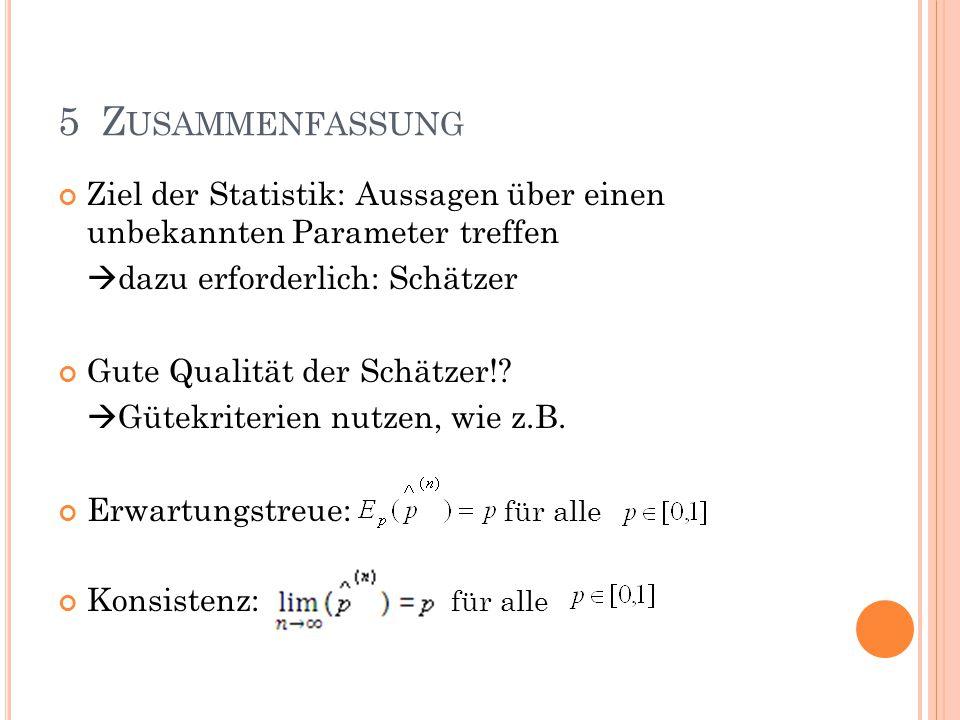 5 Zusammenfassung Ziel der Statistik: Aussagen über einen unbekannten Parameter treffen. dazu erforderlich: Schätzer.
