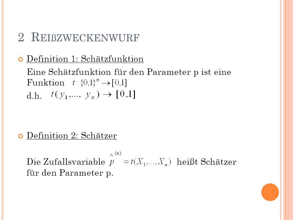 2 Reißzweckenwurf Definition 1: Schätzfunktion
