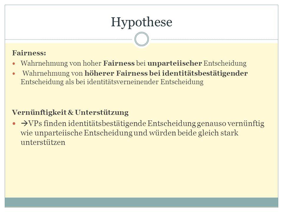 Hypothese Fairness: Wahrnehmung von hoher Fairness bei unparteiischer Entscheidung.