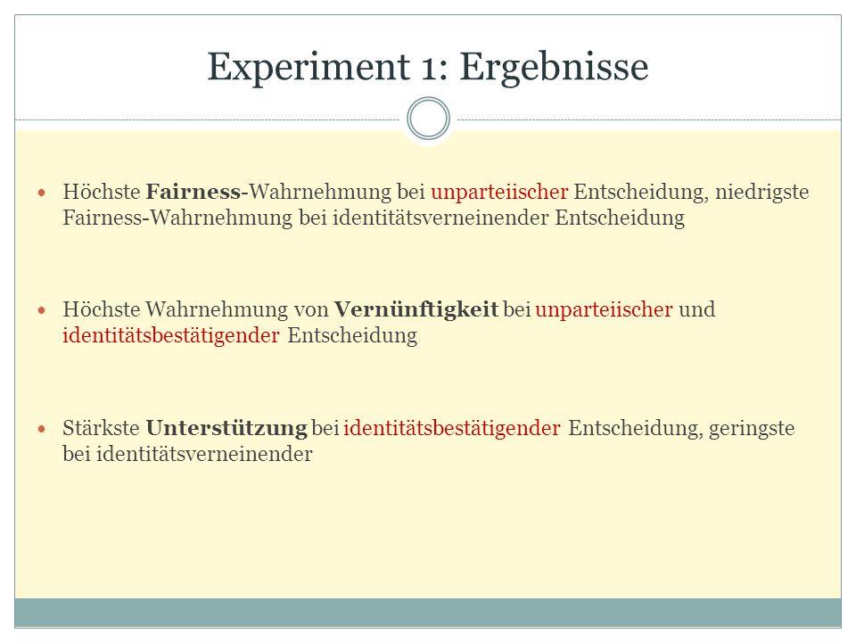 Experiment 1: Ergebnisse