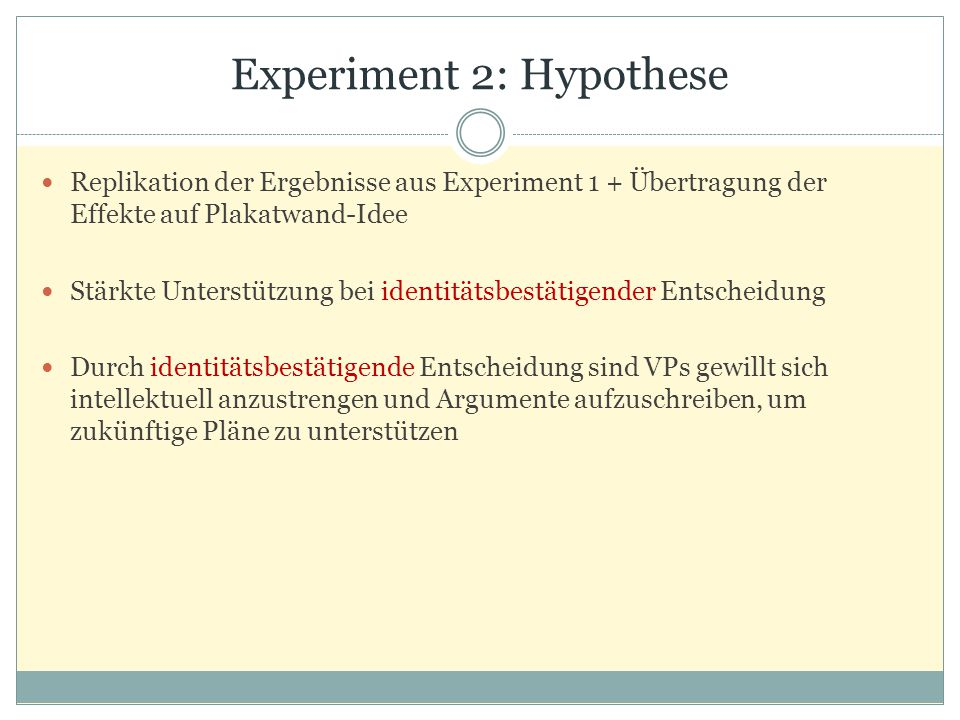 Experiment 2: Hypothese