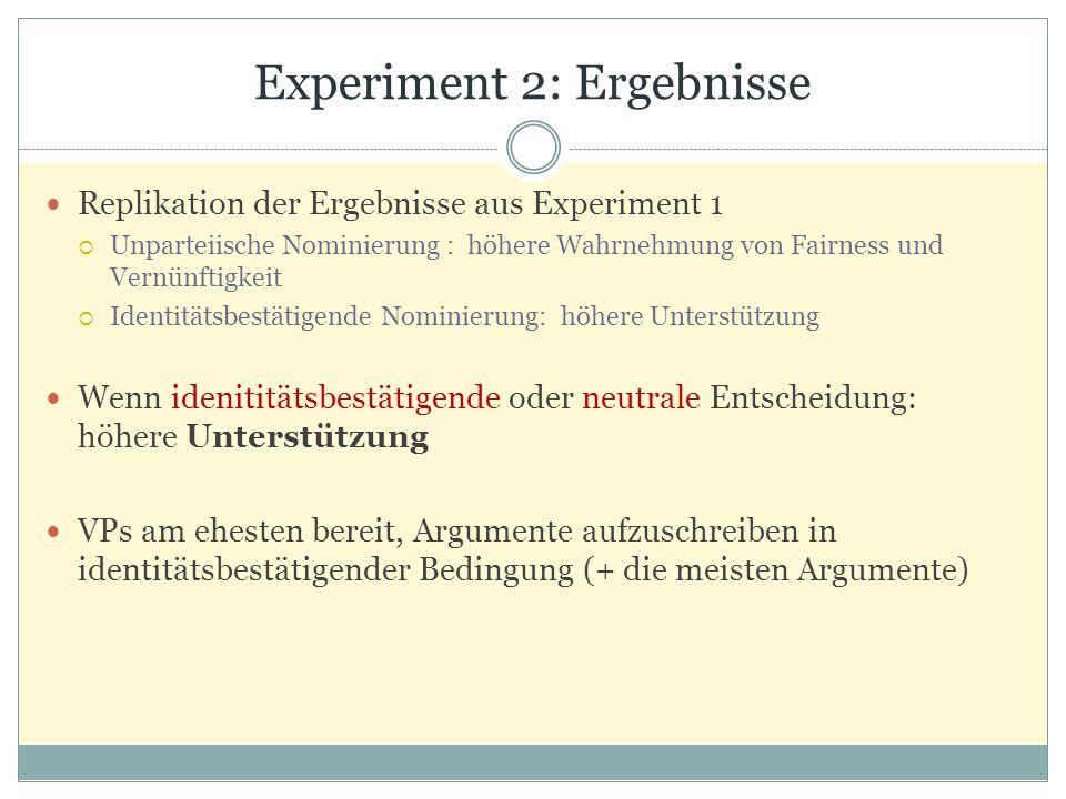 Experiment 2: Ergebnisse