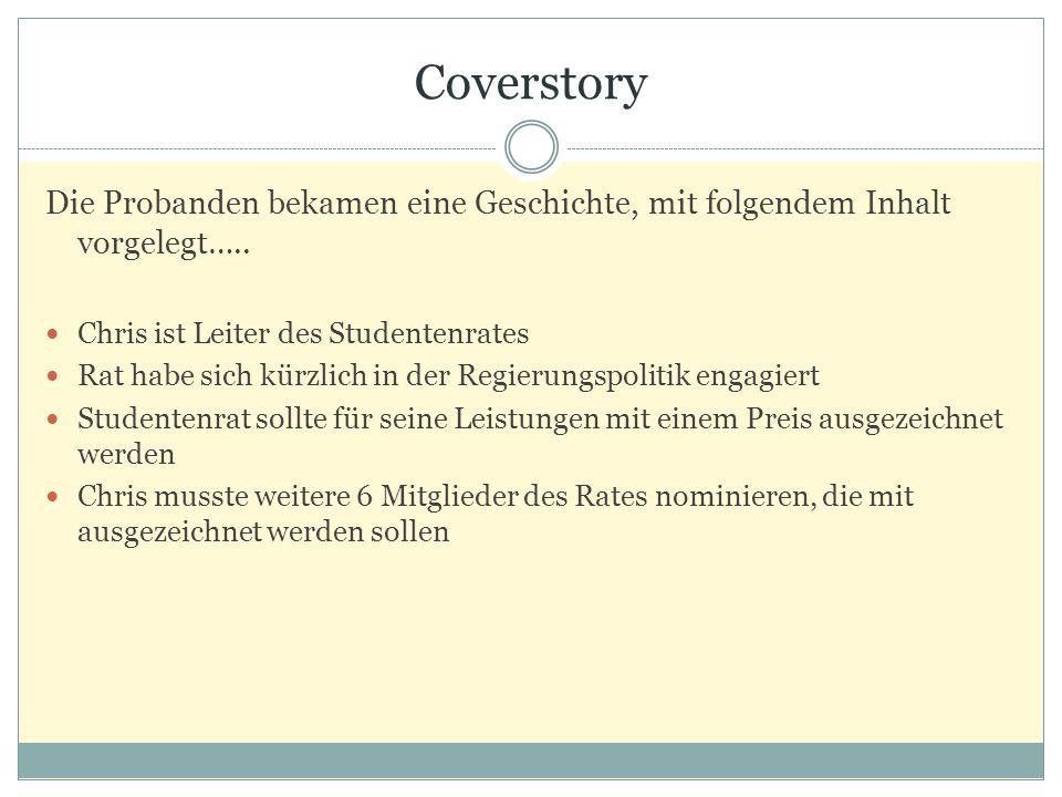 Coverstory Die Probanden bekamen eine Geschichte, mit folgendem Inhalt vorgelegt….. Chris ist Leiter des Studentenrates.