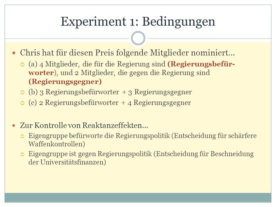 Experiment 1: Bedingungen