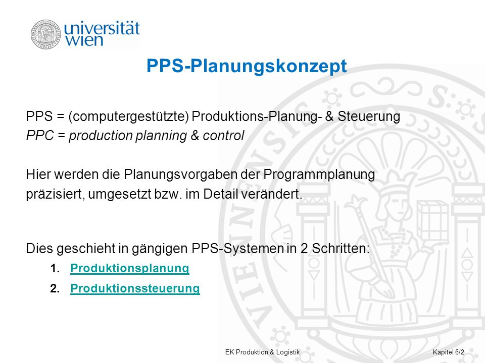 PPS-Planungskonzept PPS = (computergestützte) Produktions-Planung- & Steuerung. PPC = production planning & control.