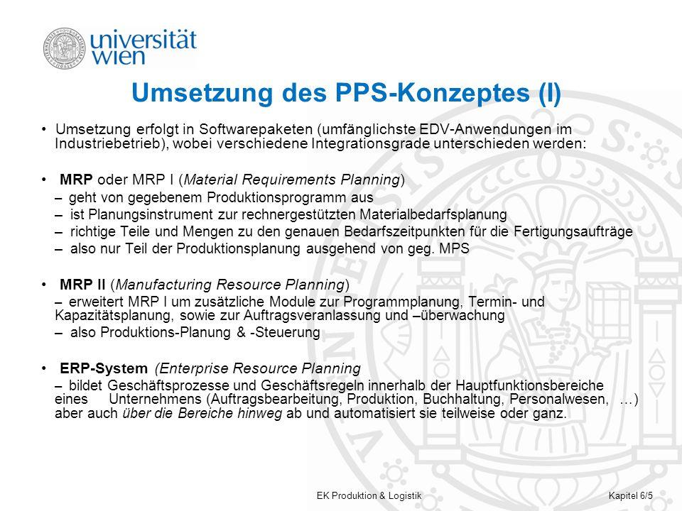 Umsetzung des PPS-Konzeptes (I)