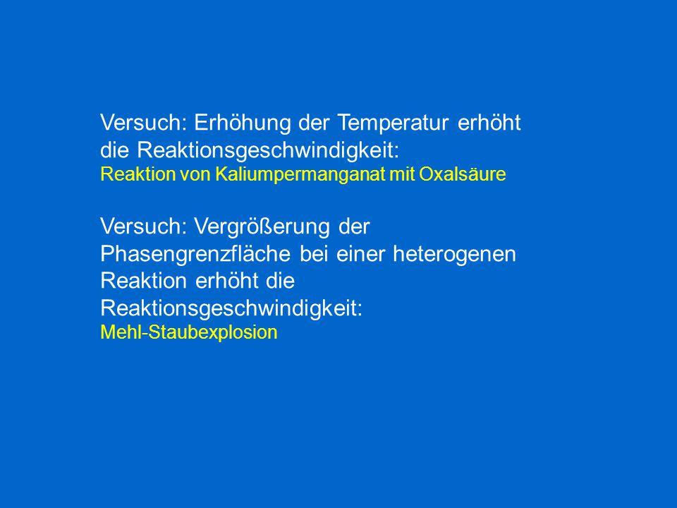 Versuch: Erhöhung der Temperatur erhöht die Reaktionsgeschwindigkeit: