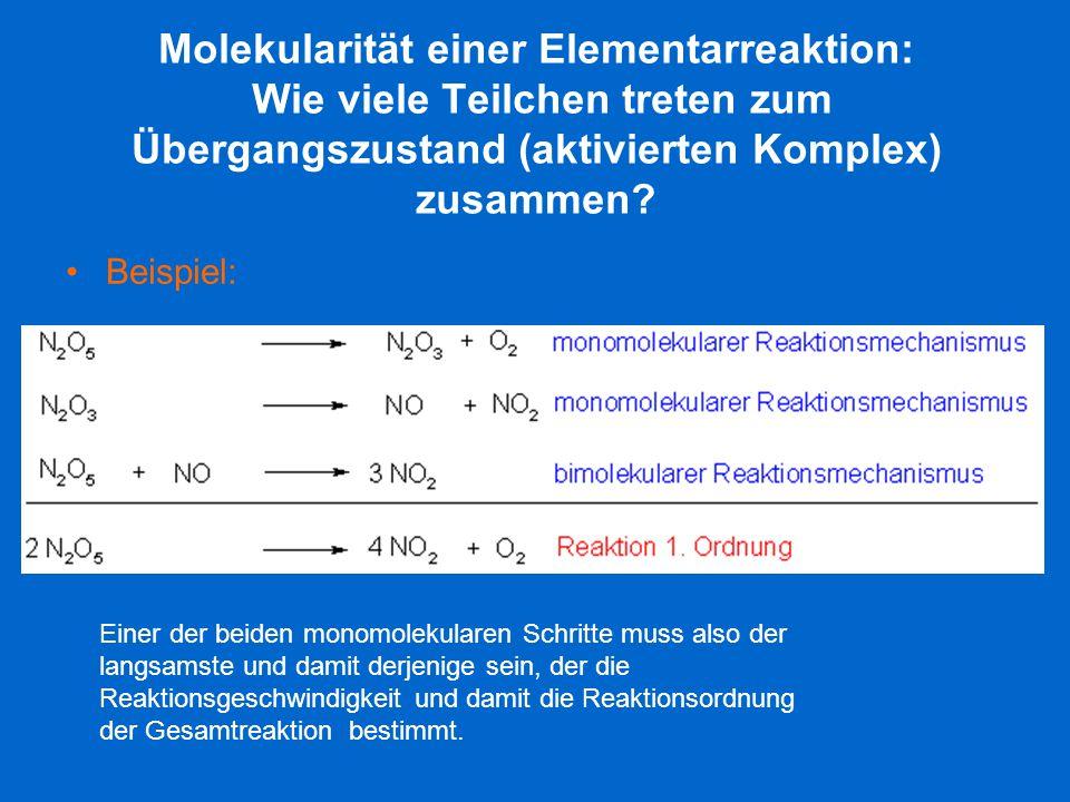 Molekularität einer Elementarreaktion: Wie viele Teilchen treten zum Übergangszustand (aktivierten Komplex) zusammen