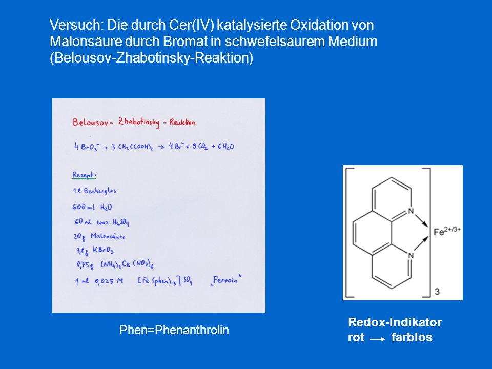 Versuch: Die durch Cer(IV) katalysierte Oxidation von Malonsäure durch Bromat in schwefelsaurem Medium (Belousov-Zhabotinsky-Reaktion)