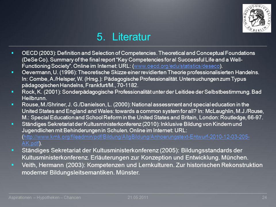 Literatur Wember, F.B./Prändl, St. (Hrsg.): Standards der sonderpädagogischen Förderung. München.
