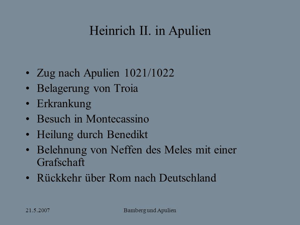 Heinrich II. in Apulien Zug nach Apulien 1021/1022
