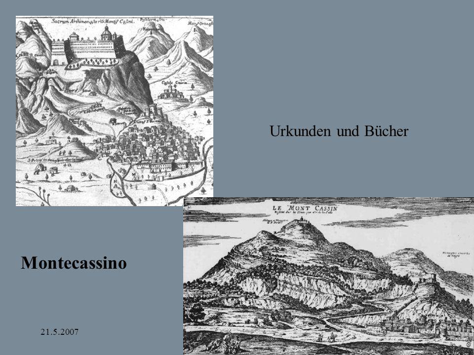 Urkunden und Bücher Montecassino 21.5.2007 Bamberg und Apulien