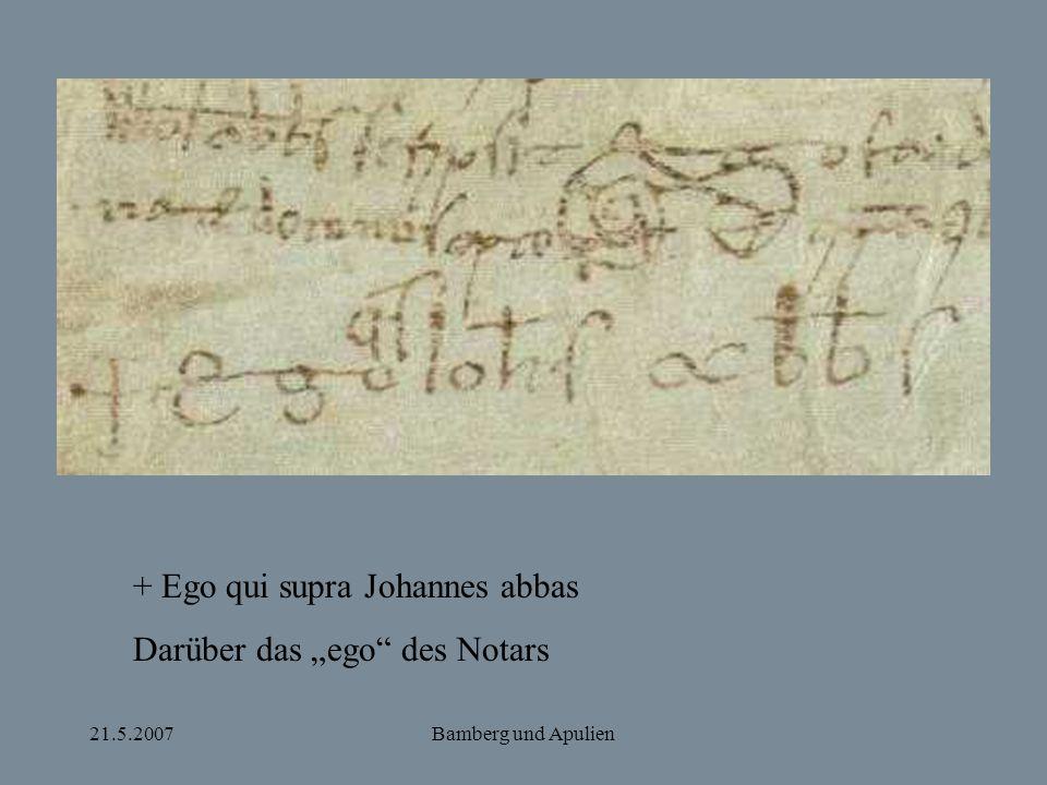 """+ Ego qui supra Johannes abbas Darüber das """"ego des Notars"""