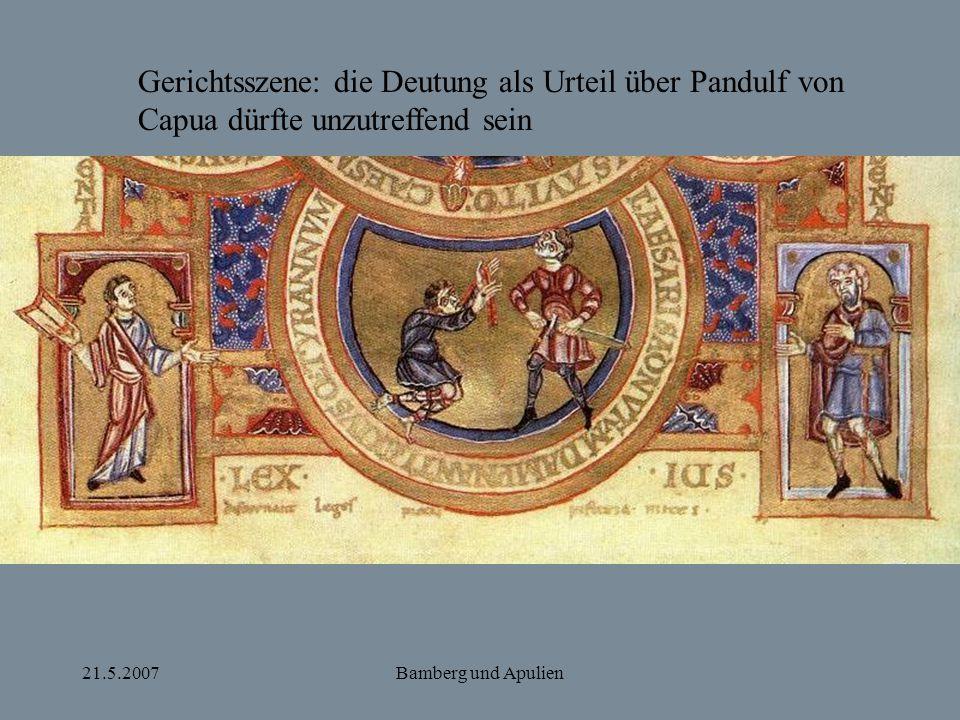Gerichtsszene: die Deutung als Urteil über Pandulf von Capua dürfte unzutreffend sein