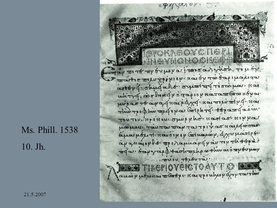 Ms. Phill. 1538 10. Jh. 21.5.2007 Bamberg und Apulien