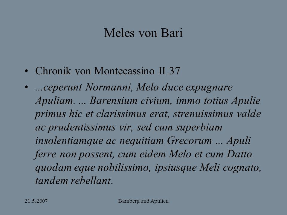 Meles von Bari Chronik von Montecassino II 37