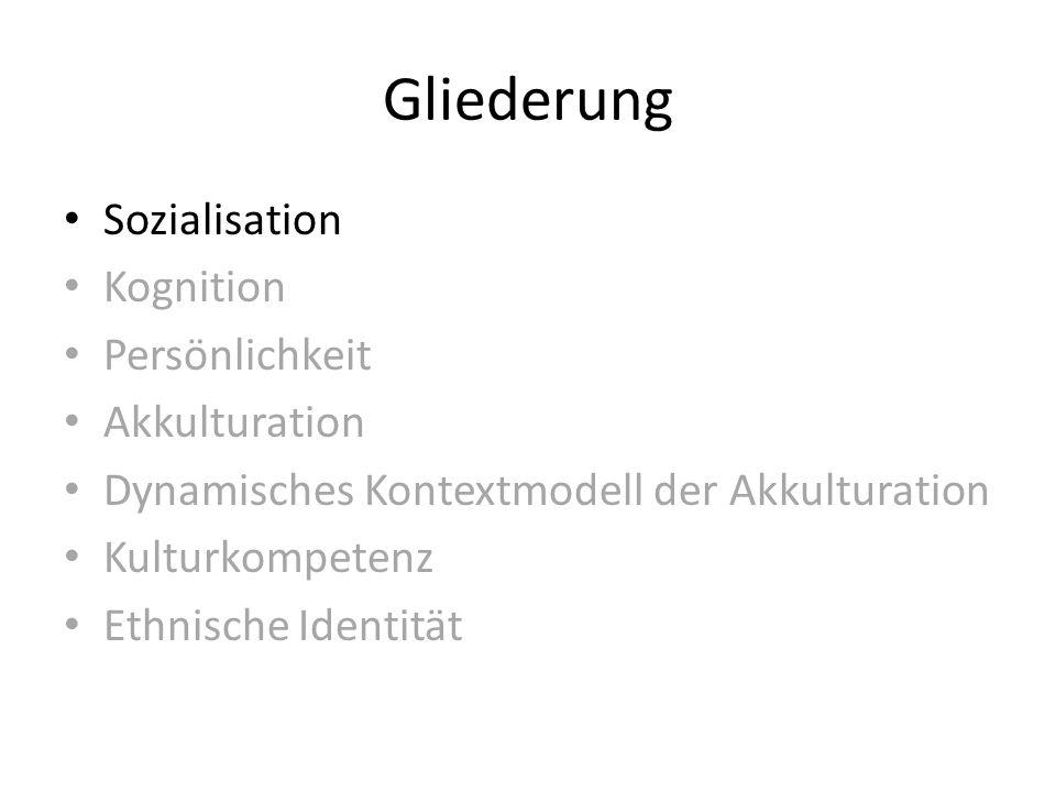 Gliederung Sozialisation Kognition Persönlichkeit Akkulturation