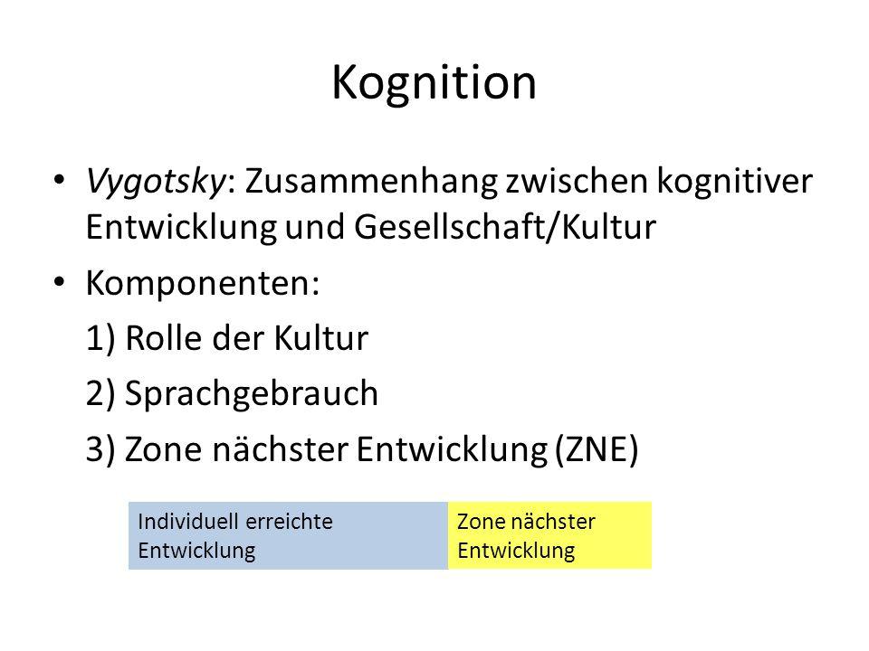 Kognition Vygotsky: Zusammenhang zwischen kognitiver Entwicklung und Gesellschaft/Kultur. Komponenten: