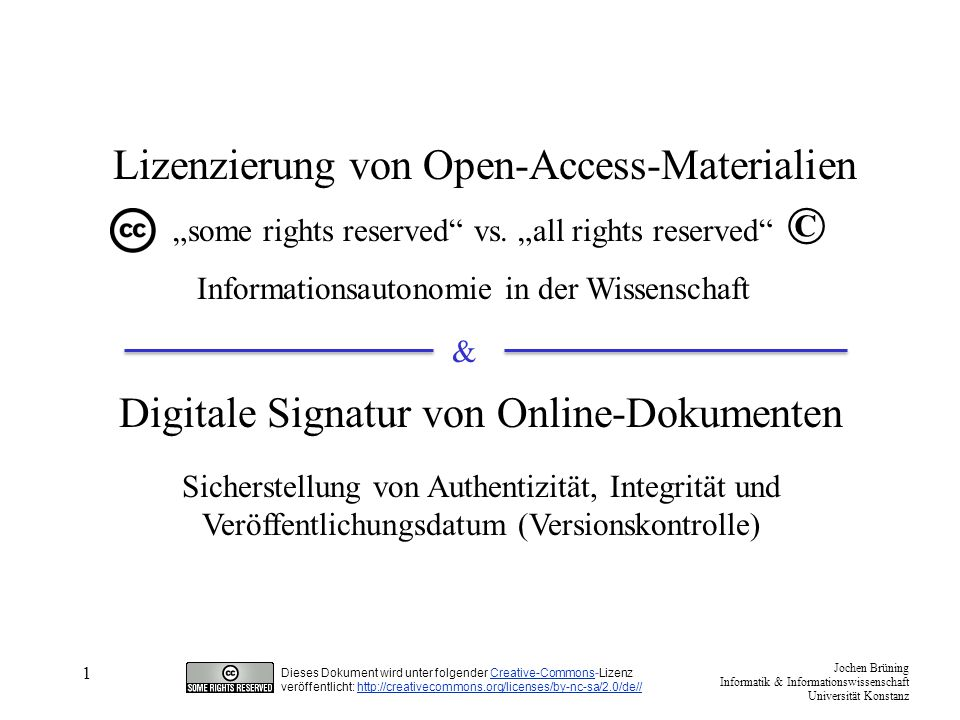 © Lizenzierung von Open-Access-Materialien