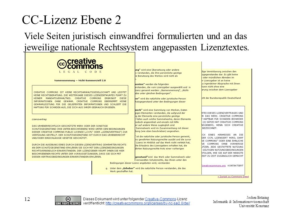 CC-Lizenz Ebene 2 Viele Seiten juristisch einwandfrei formulierten und an das jeweilige nationale Rechtssystem angepassten Lizenztextes.