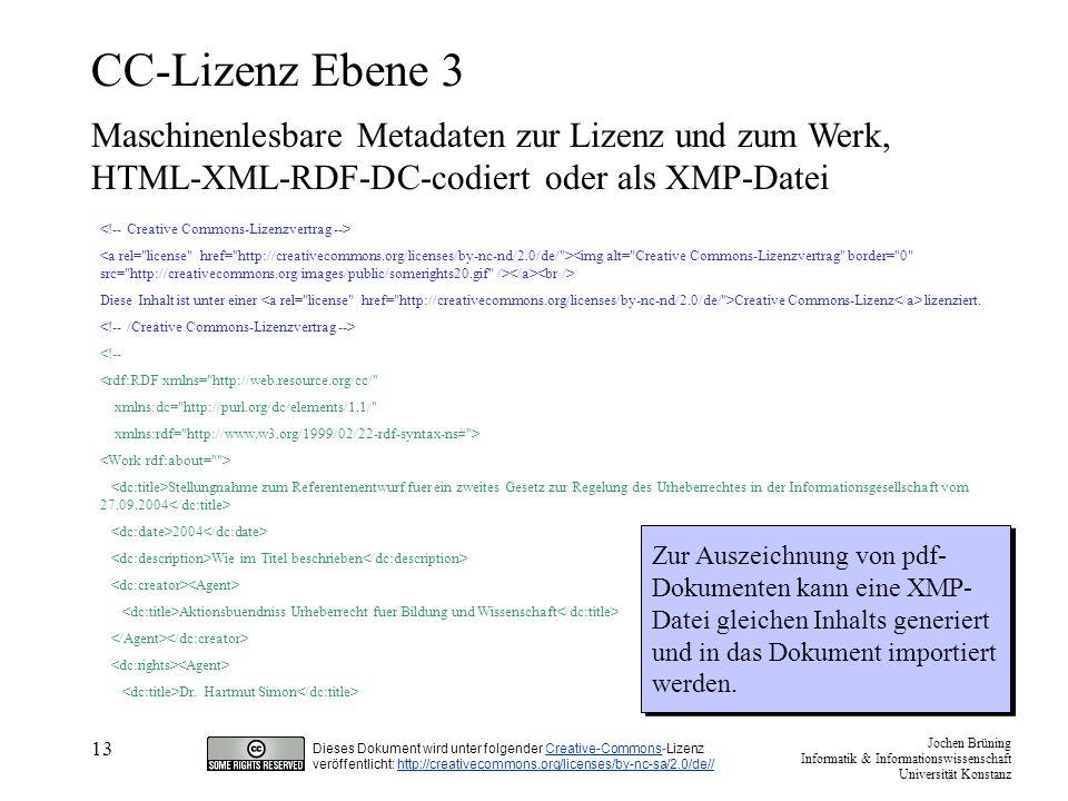 CC-Lizenz Ebene 3 Maschinenlesbare Metadaten zur Lizenz und zum Werk,