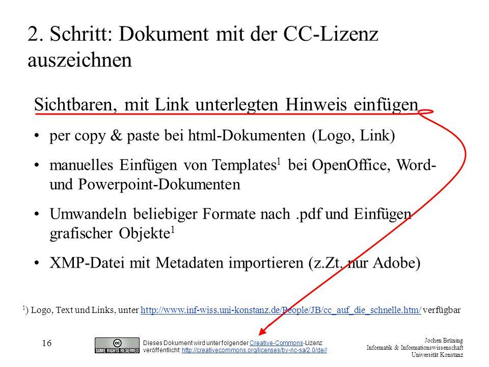 2. Schritt: Dokument mit der CC-Lizenz auszeichnen
