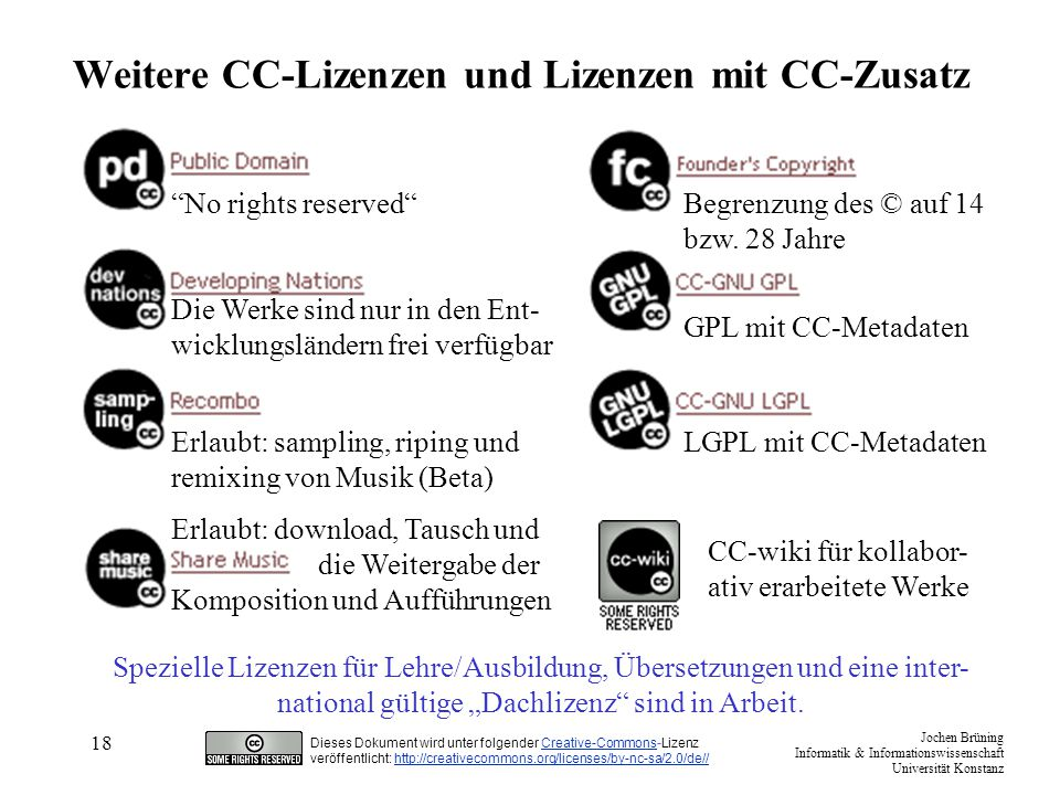 Weitere CC-Lizenzen und Lizenzen mit CC-Zusatz