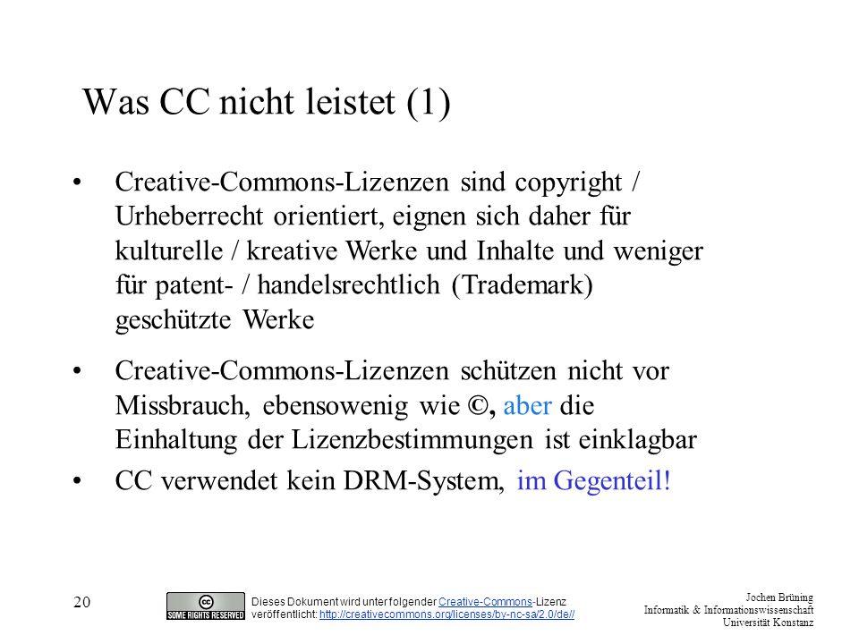 Was CC nicht leistet (1)