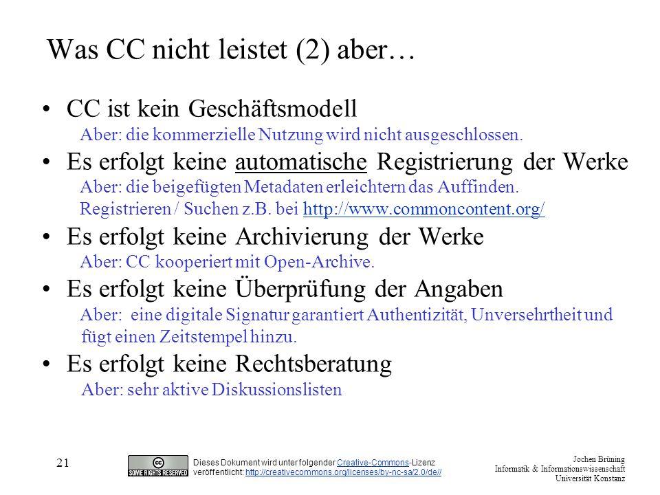 Was CC nicht leistet (2) aber…