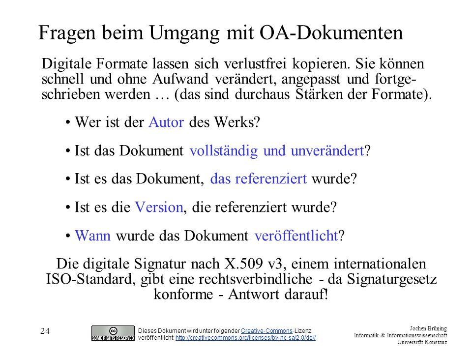 Fragen beim Umgang mit OA-Dokumenten