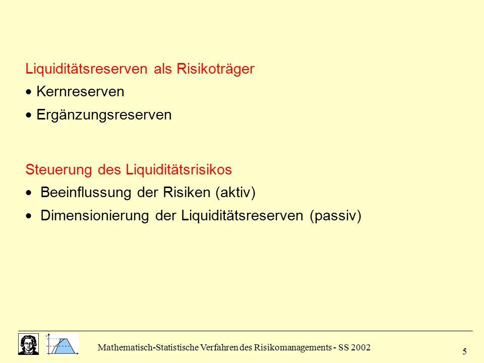 Liquiditätsreserven als Risikoträger  Kernreserven