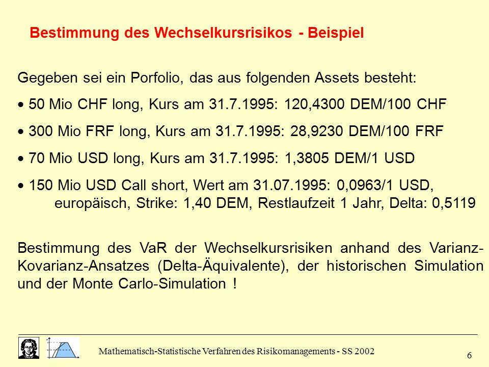 Bestimmung des Wechselkursrisikos - Beispiel