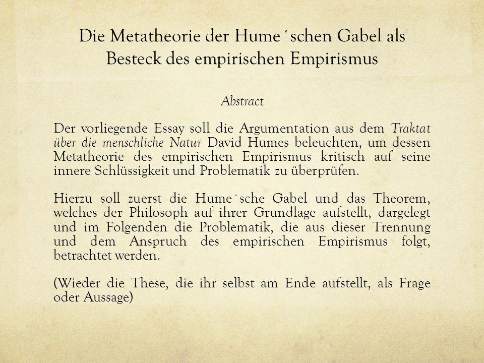 Die Metatheorie der Hume´schen Gabel als Besteck des empirischen Empirismus