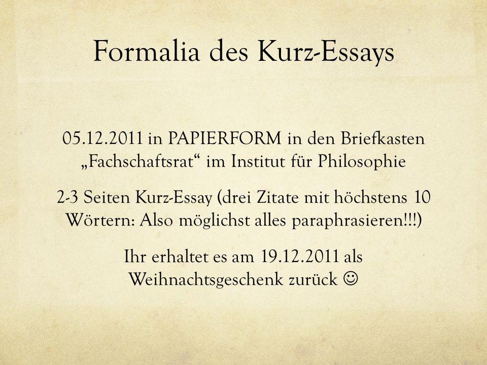 Formalia des Kurz-Essays