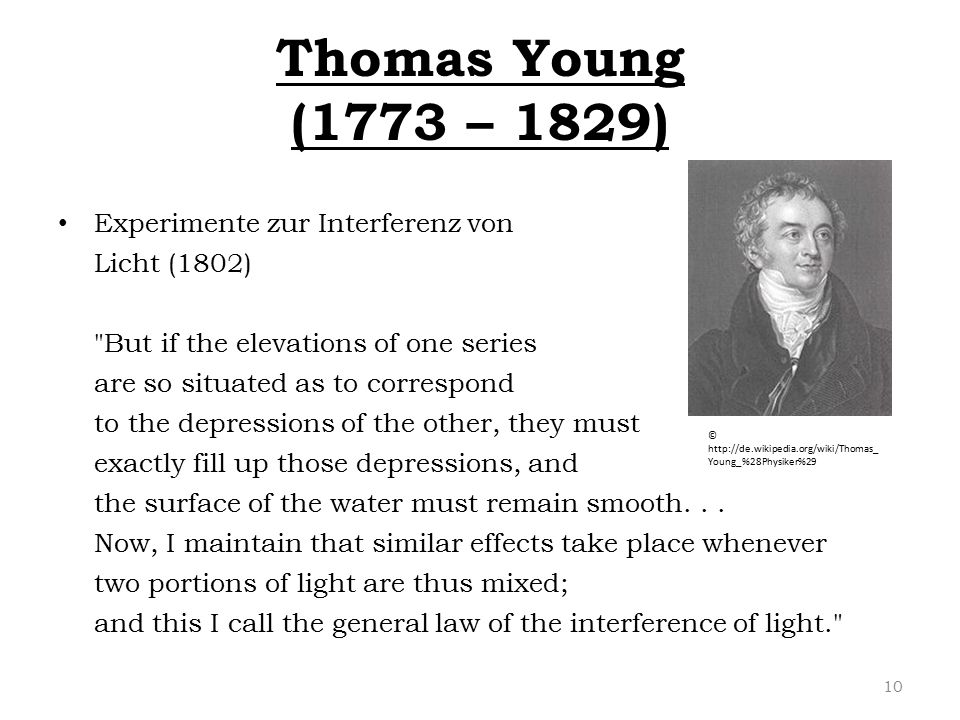 Thomas Young (1773 – 1829) Experimente zur Interferenz von