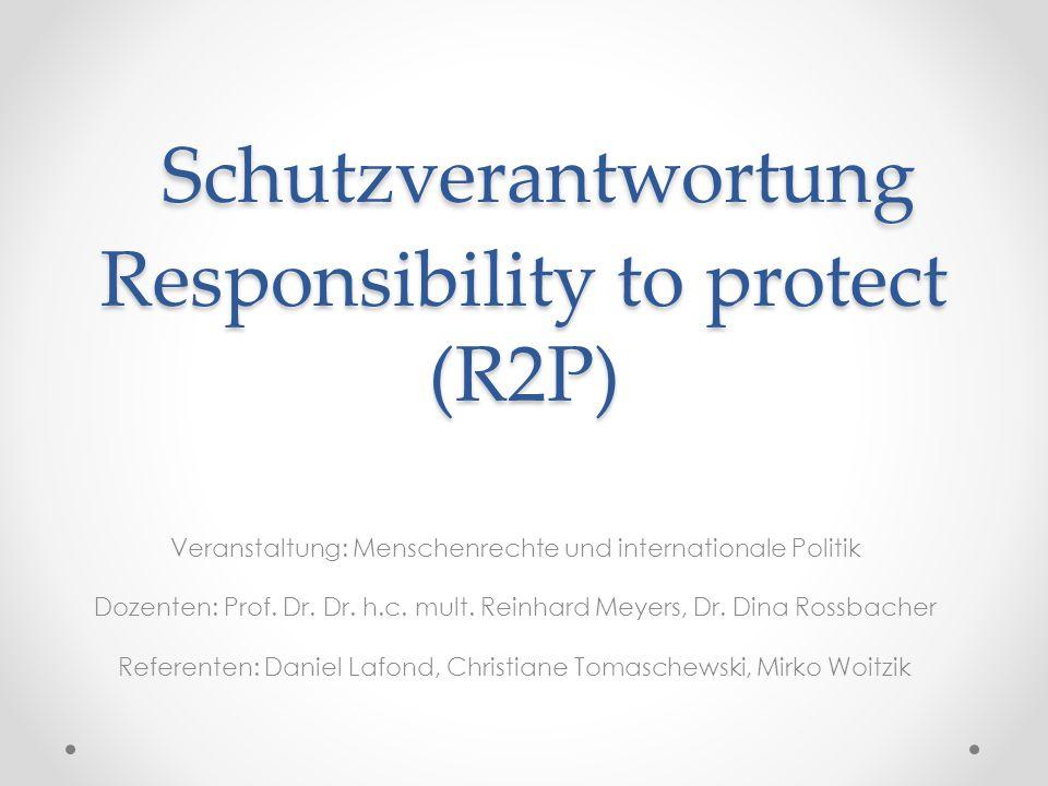 Schutzverantwortung Responsibility to protect (R2P)
