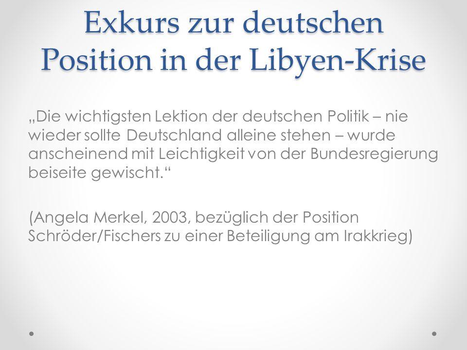 Exkurs zur deutschen Position in der Libyen-Krise