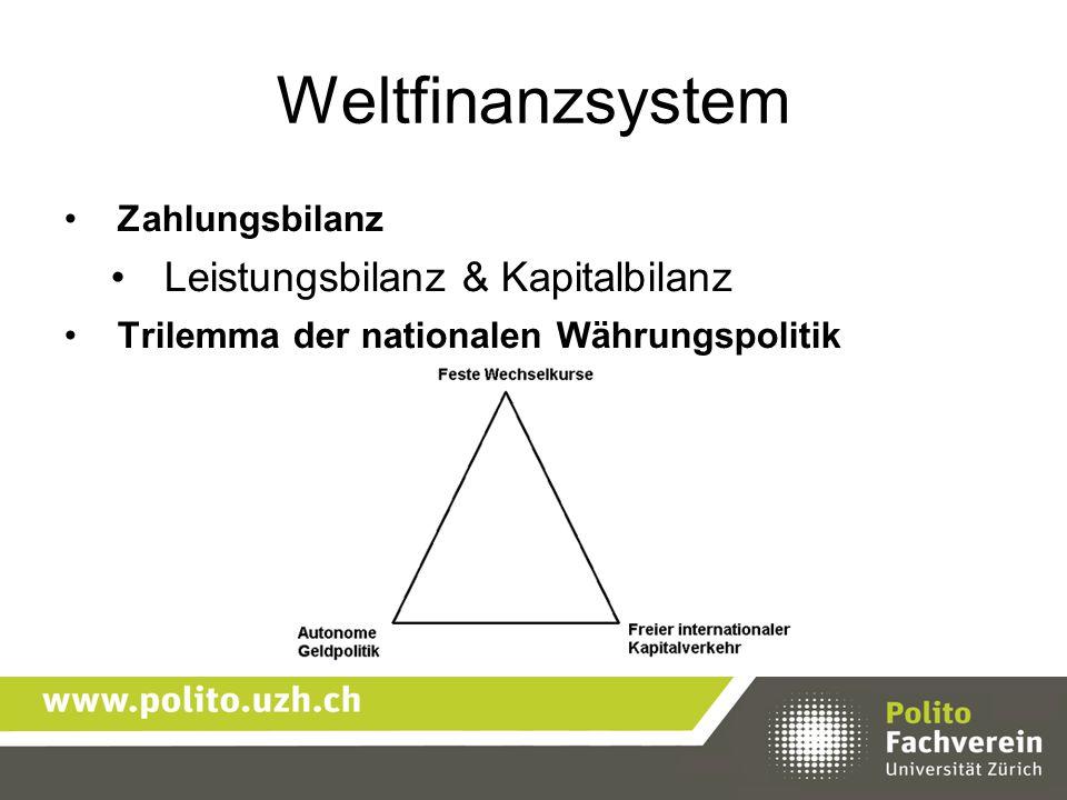 Weltfinanzsystem Leistungsbilanz & Kapitalbilanz Zahlungsbilanz