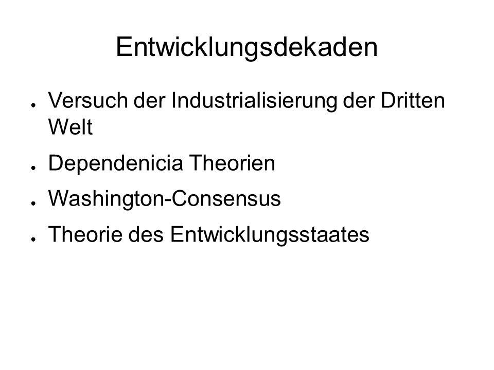 Entwicklungsdekaden Versuch der Industrialisierung der Dritten Welt