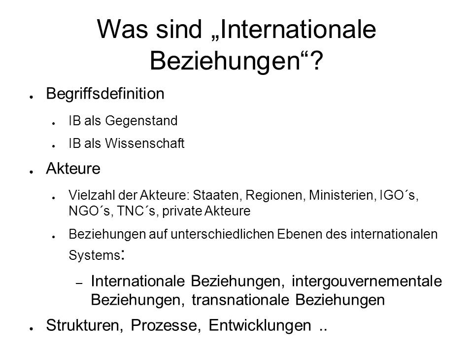 "Was sind ""Internationale Beziehungen"