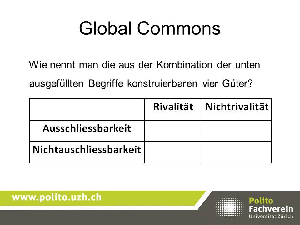 Global Commons Wie nennt man die aus der Kombination der unten ausgefüllten Begriffe konstruierbaren vier Güter