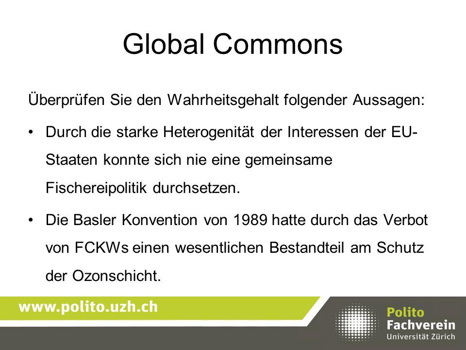 Global Commons Überprüfen Sie den Wahrheitsgehalt folgender Aussagen:
