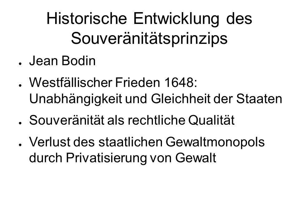Historische Entwicklung des Souveränitätsprinzips