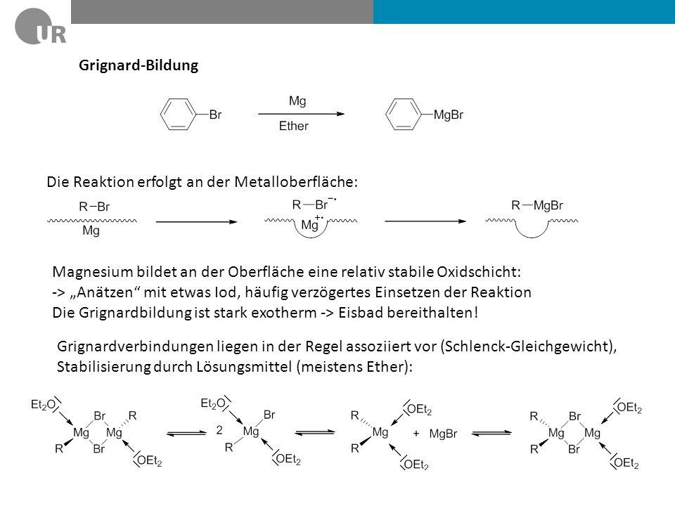 Grignard-Bildung Die Reaktion erfolgt an der Metalloberfläche: