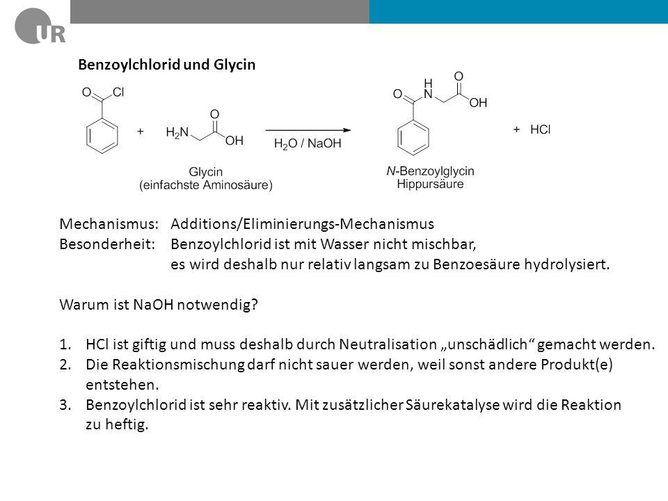 Benzoylchlorid und Glycin