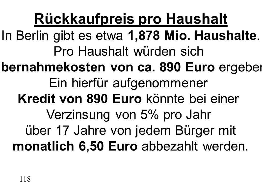 Rückkaufpreis pro Haushalt